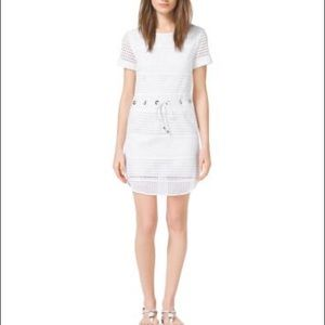 Michael Kors XS White Eyelet Perforated Mini Dress